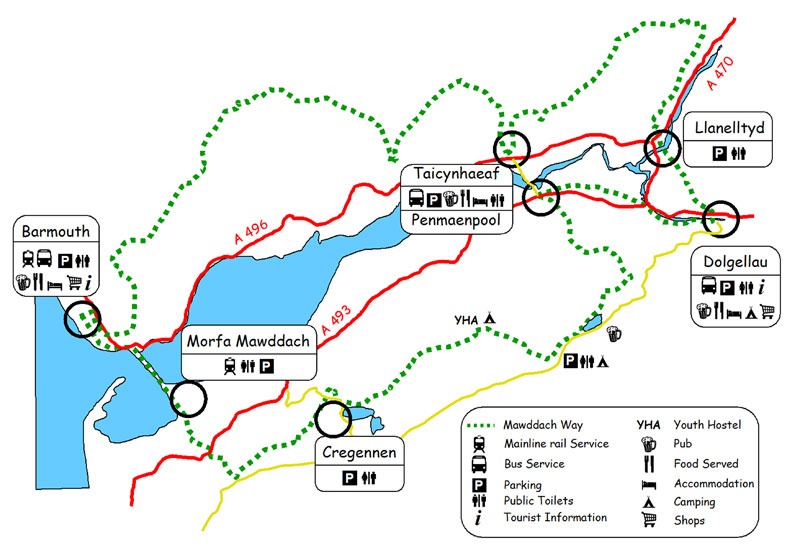 The route plan of the Mawddach Way 3 day circular footpath walk